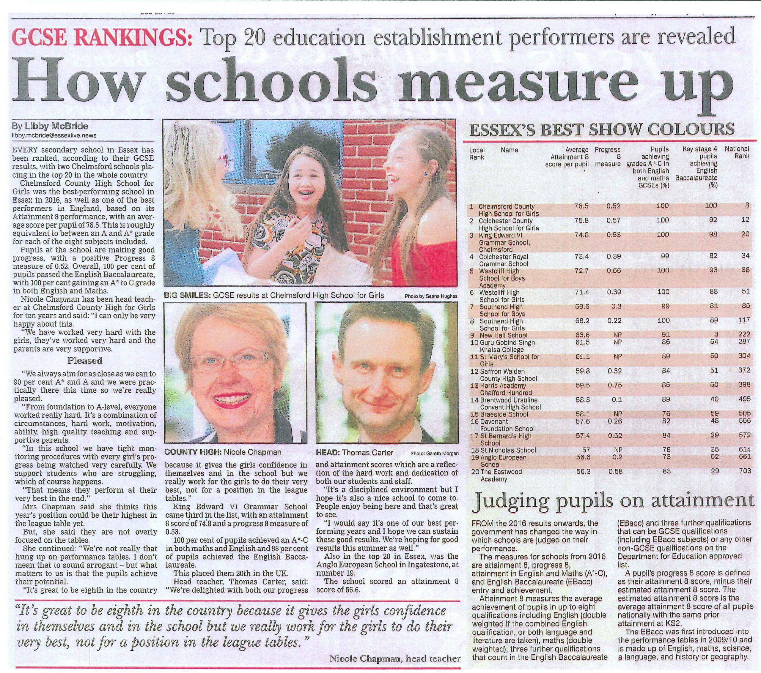GCSE Rankings 2016 - Essex Chroncile - 26 Jan 2017